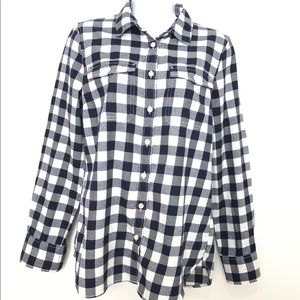 J. Crew Factory Navy & White Plaid Top